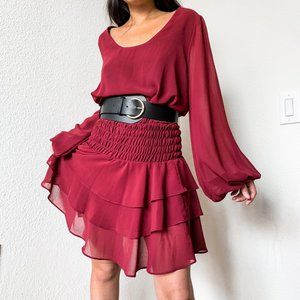 Red Ruffle Chiffon Mini Dress